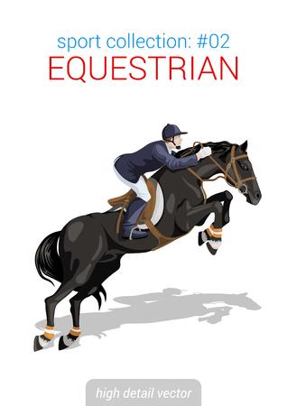 cavallo che salta: Raccolta vettore Sportivi. Cavaliere a cavallo equestre. Sportivo elevato dettaglio illustrazione.