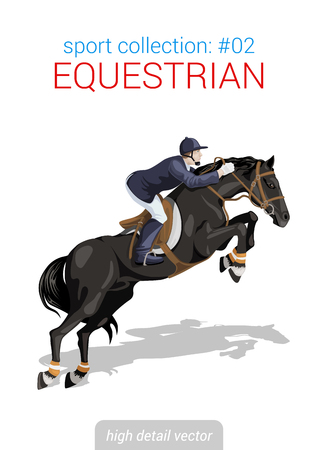 jumps: Sportsmen vector collection. Equestrian horseback rider. Sportsman high detail illustration.
