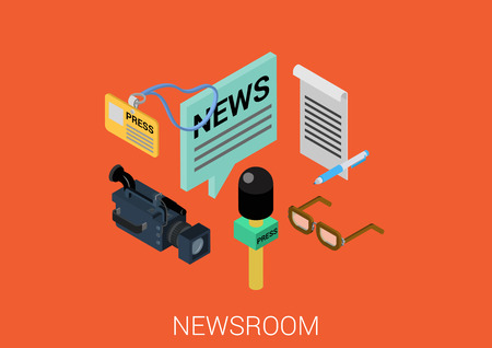 News room media flat 3d isometric pixel art modern design concept vector. Newsroom correspondent journalist tools microphone camcorder video badge web banners illustration website infographics pixelart.