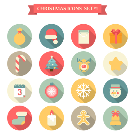 holiday: Christmas New Year icon set flat style seasonal objects gingerbread man gift bag Santa hat fir tree candy elk candle snowman. Collection of holiday icons web element infographics print template. Illustration