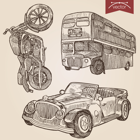 car drawing: Engraving style pen pencil crosshatch hatching paper painting retro vintage vector lineart illustration road transport set. Motorbike, double dekker classic two floor bus and retro convertible cabrio car.