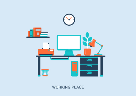 Flat style design vector illustration work place home interior. Table, pc computer, monitor, printer, lamp, plant, book shelf. Big flat collection.