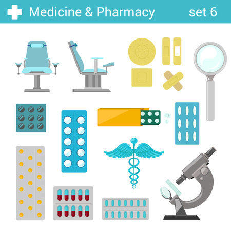 gynecologist: Flat style medical pharmaceutical hospital equipment icon set. Gynecologist seat, tablets pills, patches, microscope, caduceus. Medicine pharmacy collection.
