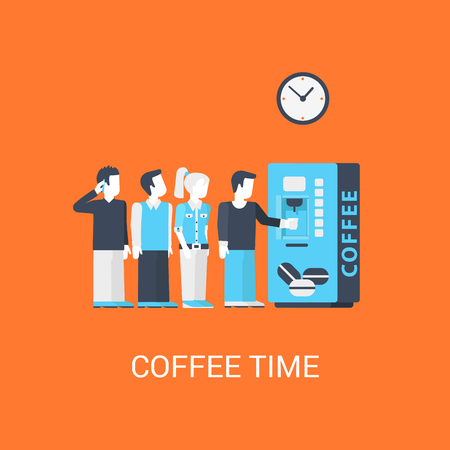 meal time: Business coffee-break concept flat icon of turn line office stuff people before coffee machine and website click for infographics design web elements vector illustration.