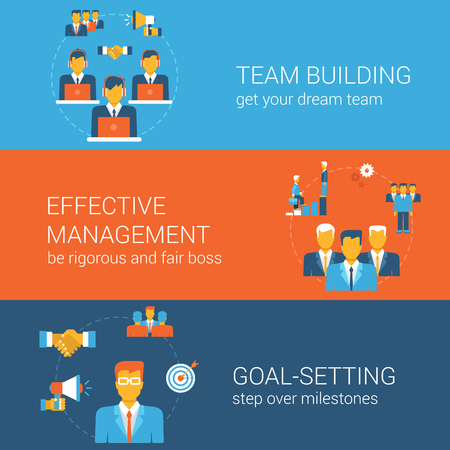 manager team: Team goal management concept flat icons banners template set workforce building effective manager goal setting milestone vector web illustration website click infographics elements.