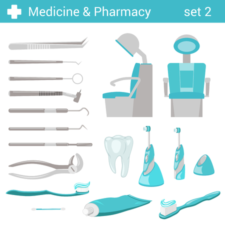 vector chair: Flat style medical dental hospital equipment icon set. Dentist seat, toothbrush, toothpaste, tooth, mirror, forceps. Medicine pharmacy collection.