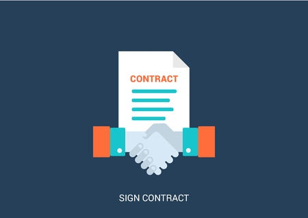 sign contract: Flat style vector illustration business sign contract handshake concept icon. Big flat conceptual collection.