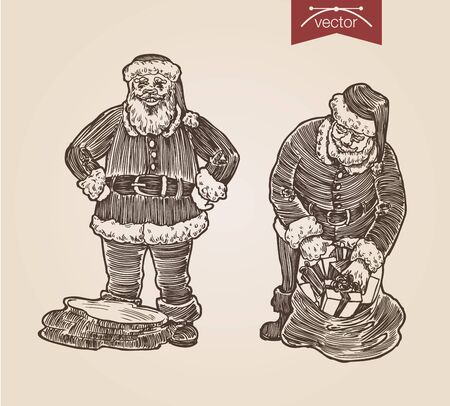 Christmas Santa bag with gifts set New Year handdrawn engraving style template poster banner print web site pen pencil crosshatch hatching paper painting retro vintage vector lineart illustration.