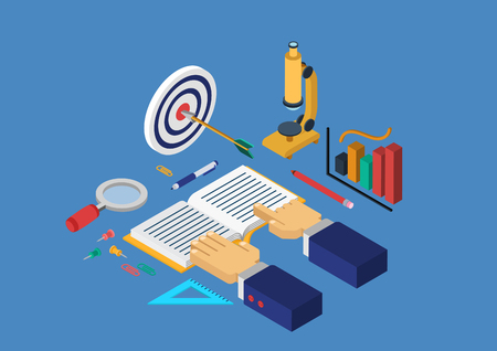 science education: Modern flat 3d isometric design concept science research education knowledge book reading magnifier hands vector web banners illustration print materials website click infographics elements collection.