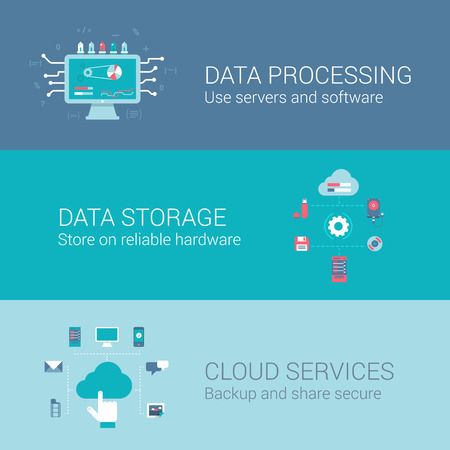 Cloud service data storage processing concept flat icons set of process and vector web banners illustration print materials website click infographics elements collection. Иллюстрация