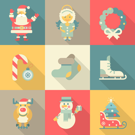 Christmas New Year icon set flat style cartoon funny Santa angel wreath candy skates sledge elk snowman felt boots. Collection of holiday icons web element infographics print template.