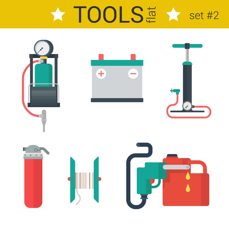 fuel pump: Flat design automotive tools vector icon set. Pump, fuel nozzle, battery, fire extinguisher, canister coil. Flat objects collection.