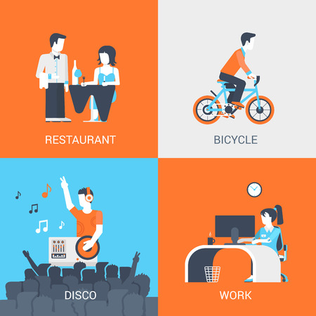 disco: Lifestyle concept flat icons set of people leisure holidays at restaurant bicycle disco work and website click for infographics design web elements vector illustration.