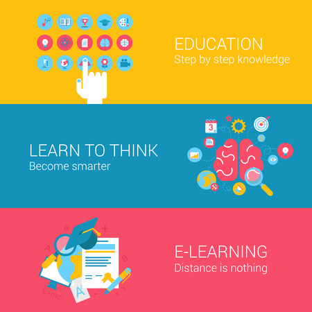 learning icon: Education online learning concept flat icons set of hand cursor brain target e-learning online distance courses and vector web illustration website click infographics elements collection.