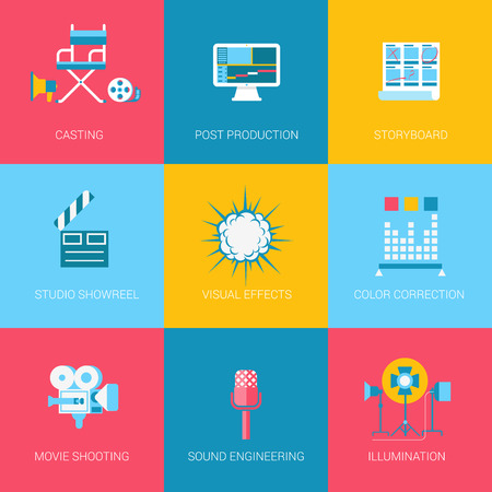 video icons: Flat video music movie producing design icons set casting post production storyboard studio showreel visual effects sound. Modern web click infographics style vector illustration concept collection. Illustration