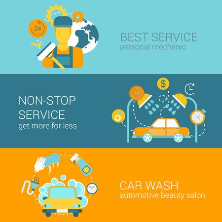 wash: Servicio de reparación de coches y lavar moderno plantilla de banner colección de iconos de diseño conjunto de vectores infografía ilustración web estilo plano. Sin parar de lavado de automóviles de servicio completo Mecánico. Vectores