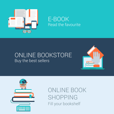 reader: Online books concept flat icons set of e-book reader online bookstore shopping and vector web illustration website click infographics elements collection.