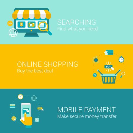 online purchase: Search shop pay online concept flat icons set of searching best deal sale making purchase mobile payment vector web banners illustration print materials website click infographics elements collection.