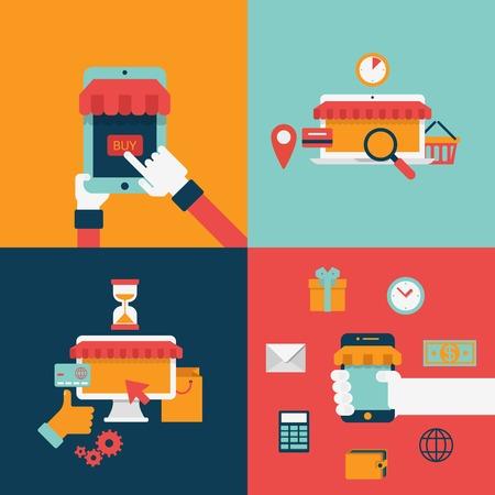 icono ordenador: programar un estilo de icono de plantilla plana de las compras por Internet en línea proceso de compra venta comprar. elementos de diseño de planos procesos de recolección.