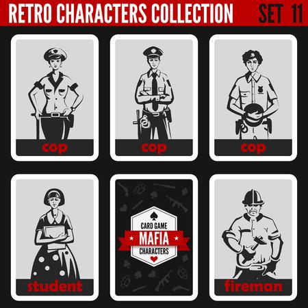 Vintage retro people collection. Mafia noir style. Cops, Student, Fireman. Professions silhouettes. Illustration