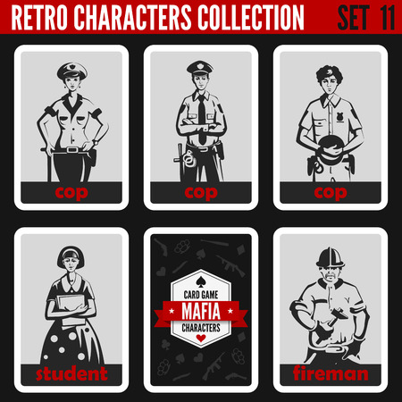 mafia: Vintage retro people collection. Mafia noir style. Cops, Student, Fireman. Professions silhouettes. Illustration