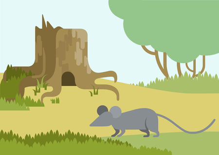 mouse hole: Mouse and burrow hole in the stump flat design cartoon vector wild animals. Flat zoo nature children collection. Illustration