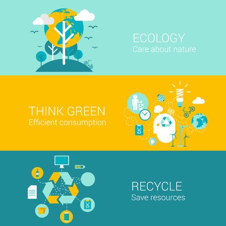 reciclar: Ecología concepto verde reciclar iconos planos conjunto de la naturaleza cuidado el consumo eficiente de los recursos y el reciclaje de vectores web banners ilustración materiales impresos página web de recogida clic infografías elementos.