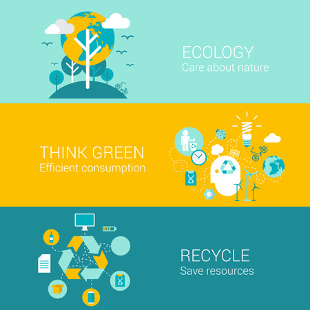efficient: Ecology green recycle concept flat icons set of care nature efficient consumption recycling resource and vector web banners illustration print materials website click infographics elements collection. Illustration