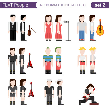 alternative rock: Flat style design people vector icon set. Music singers, performers, rock, punk culture, alternative. Flat people collection.