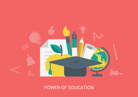 flat brush: Flat style vector illustration icon education concept collage. Power of education. Graduate hat, globe, pen and pencil, brush and apple. Big flat conceptual collection.