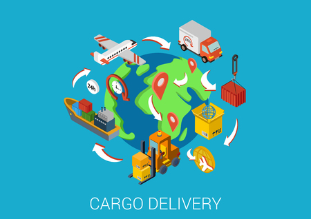 Logistics cargo delivery flat 3d isometric pixel art modern design concept vector. Worldwide shipment boat crate container loader barge van package web banners illustration website click infographics. Illustration