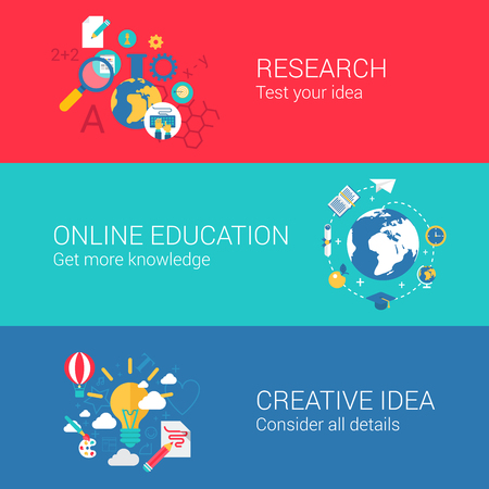 online education: Research idea concept flat icons set of science researching online education knowledge creative idea and vector web illustration website click infographics elements collection.