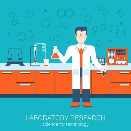 scientists: Investigación química Laboratorio estilo plano ciencia ilustración vectorial de diseño de concepto de la tecnología. Collage de personal de laboratorio con el frasco infografía interiores. Gran colección conceptual plana. Vectores
