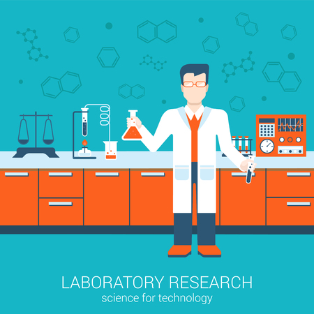 Laboratory research chemical flat style design vector illustration science for technology concept. Collage of laboratory staff with flask interior infographics. Big flat conceptual collection. Illustration