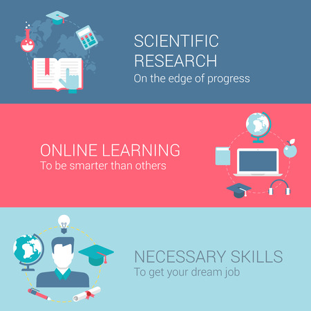 Research and development concept flat icons set of scientific research online learning necessary skills and vector web illustration website click infographics elements collection.