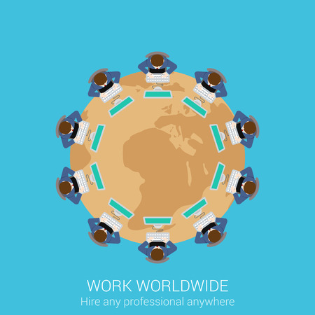 round table: Global remote corporate work concept flat icon round table businessmen teamwork worldwide conference presentation vector web illustration website click infographics elements collection. Illustration