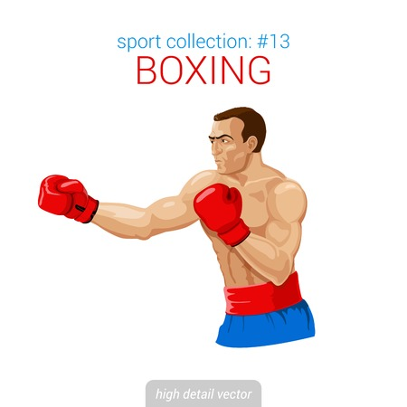 Sportsmen vector collection. Boxer man gloves kick boxing fight. Sportsman high detail illustration.