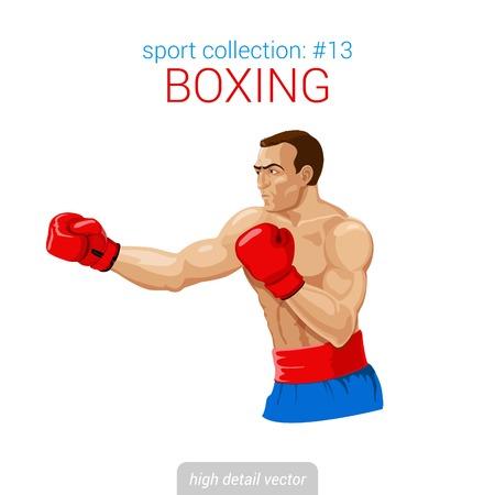 kick boxing: Sportsmen vector collection. Boxer man gloves kick boxing fight. Sportsman high detail illustration.