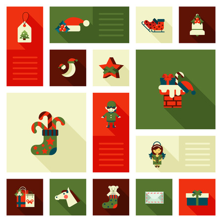 christmas present: Christmas and New Year flat style decorations and labels icon set. Elf, horse head mask, chimney, flue, funnel, tree, star, angel, gift present box. Collection of holiday web icons. Illustration
