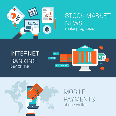 news: Online mobile business concept flat icons banners template set stock market news internet banking payments checkout vector web illustration website click infographics elements.