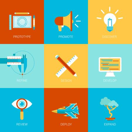 prototipo: Sitio web plana proceso de creación de iconos de diseño establecidos prototipo promueven idea refinar desarrollar la programación de códigos opinión despliegue ampliar la colección ilustración vectorial concepto de estilo de infografía web clic moderno. Vectores