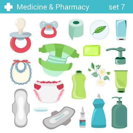 female doctor: Flat style baby care motherhood nursery icon set. Medicine pharmacy collection. Illustration