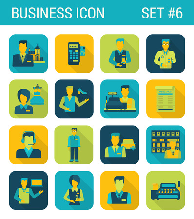 web store: Business flat icons set businessman support office consultant cashier contract staff store boutique web click infographics style vector illustration concept collection.
