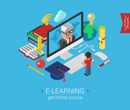 Online education course e-learning flat 3d isometric modern concept vector icons collage. Cartoon man figure stands before monitor showing teacher. Web illustration and website infographic elements.
