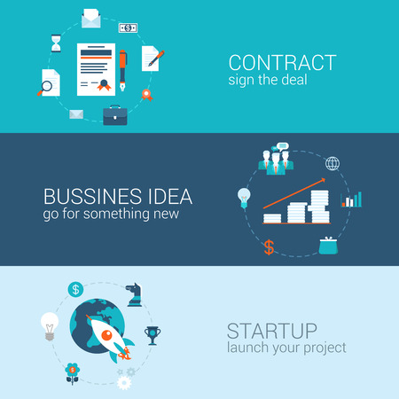 Zakelijk contract idee opstarten begrip vlakke pictogrammen banners template set teken deal start-up lancering project vector web illustratie website klik infographics elementen.