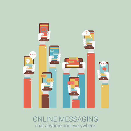 mobile phones: Flat style design vector illustration online messaging mobile app concept. Collage of hands holding touch phones with message im chat dialogue application infographics big flat conceptual collection.