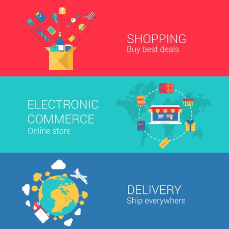 web store: Shopping e-commerce delivery concept flat icons set of online order electronic store shipment and vector web banners illustration print materials website click infographics elements collection.