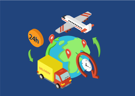 everywhere: Shipping delivery worldwide online store flat 3d isometric design concept van plane everywhere vector web banners illustration print materials website click infographics elements collection.
