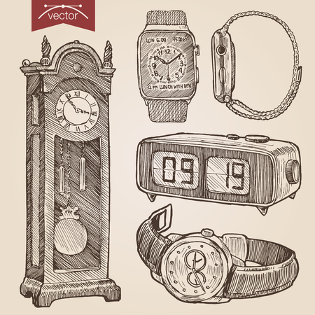 wrist: Engraving style pen pencil crosshatch hatching paper painting retro vintage vector lineart illustration clocks and watches set. Floor grandfather clock, alarm, wrist chronograph, smart watch. Illustration