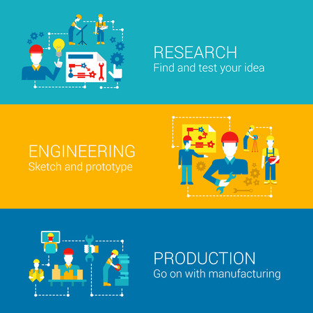 manufacturing: Engineering professionals science research production concept flat business icons set factory management manufacturing workers vector web illustration website click infographics elements collection.